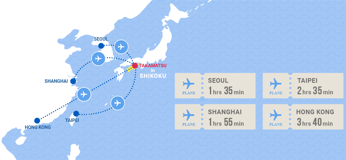 Access from countries around the world to Takamatsu City by direct flight